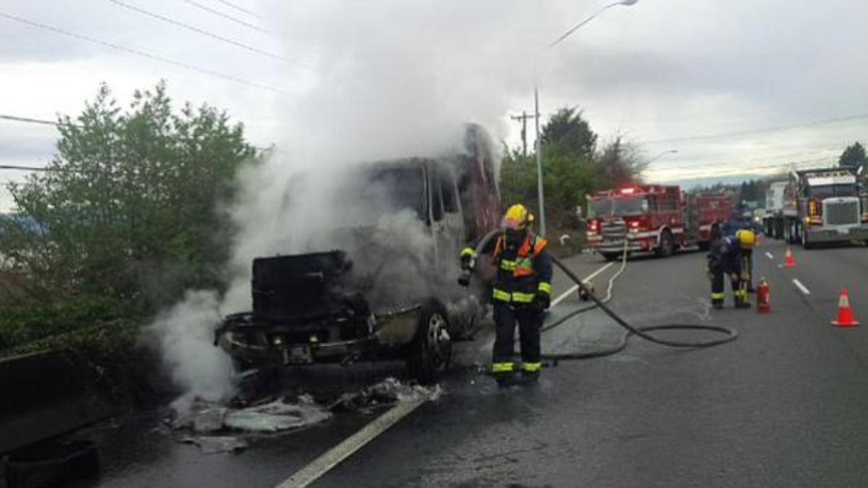 A truck-tractor caught fire on state Highway 14 Thursday.