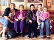 In a photo taken in May to celebrate Mother's Day, Shannon DeVito, 53, of Vancouver, left, is pictured with family members in a five-generation photo. Others, left to right, include DeVito's mother, Juanita Houston, 72, Tacoma; her grandmother, Betty Barnes, 90, Tacoma; her daughter, Elizabeth Johnson, 33, Vancouver; and her granddaughter, Dahlia Johnson, 2, Vancouver.