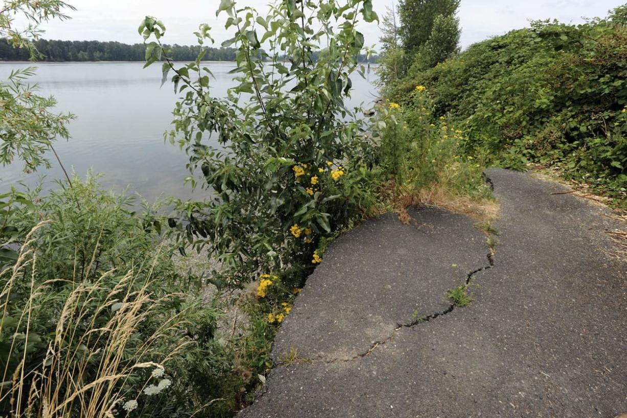 Erosion has undercut Lower River Road past Milepost 10 west of Frenchman's Bar in Vancouver.