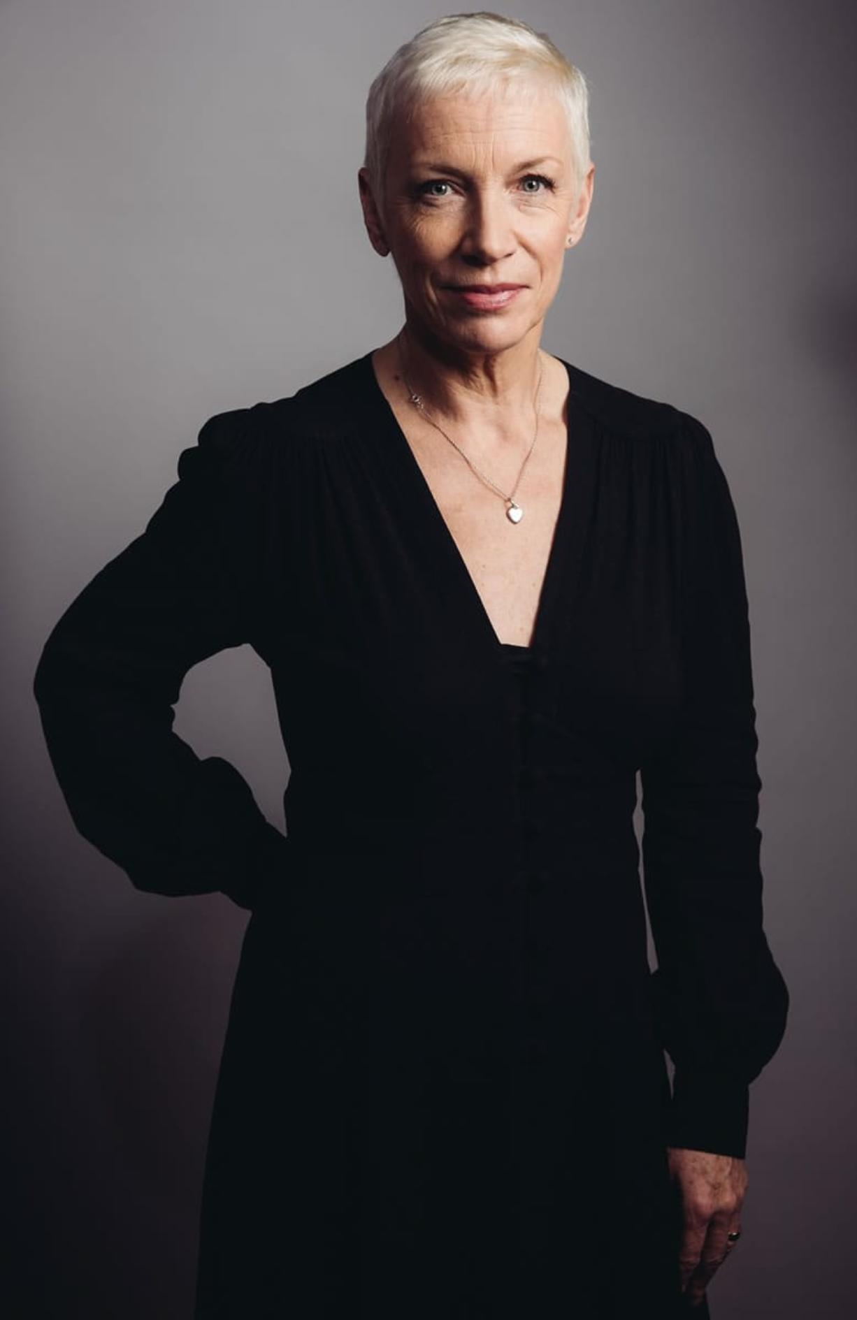 """In this Oct. 9, 2014 photo, musician Annie Lennox poses for a portrait during an interview in Los Angeles to promote her new CD """"Nostalgia."""" (Photo by Casey Curry/Invision/AP)"""
