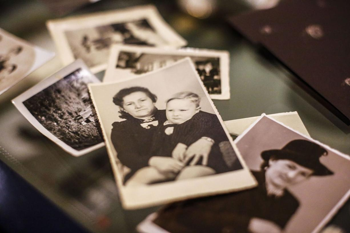 This undated family photo provided by Paul Schmitz, a son of a United States WWII soldier, show him as a little boy with his mother, center picture. Paul Schmitz spoke with The Associated Press about his father and his life in post WWII Germany during an interview at the Allied Museum in Berlin.