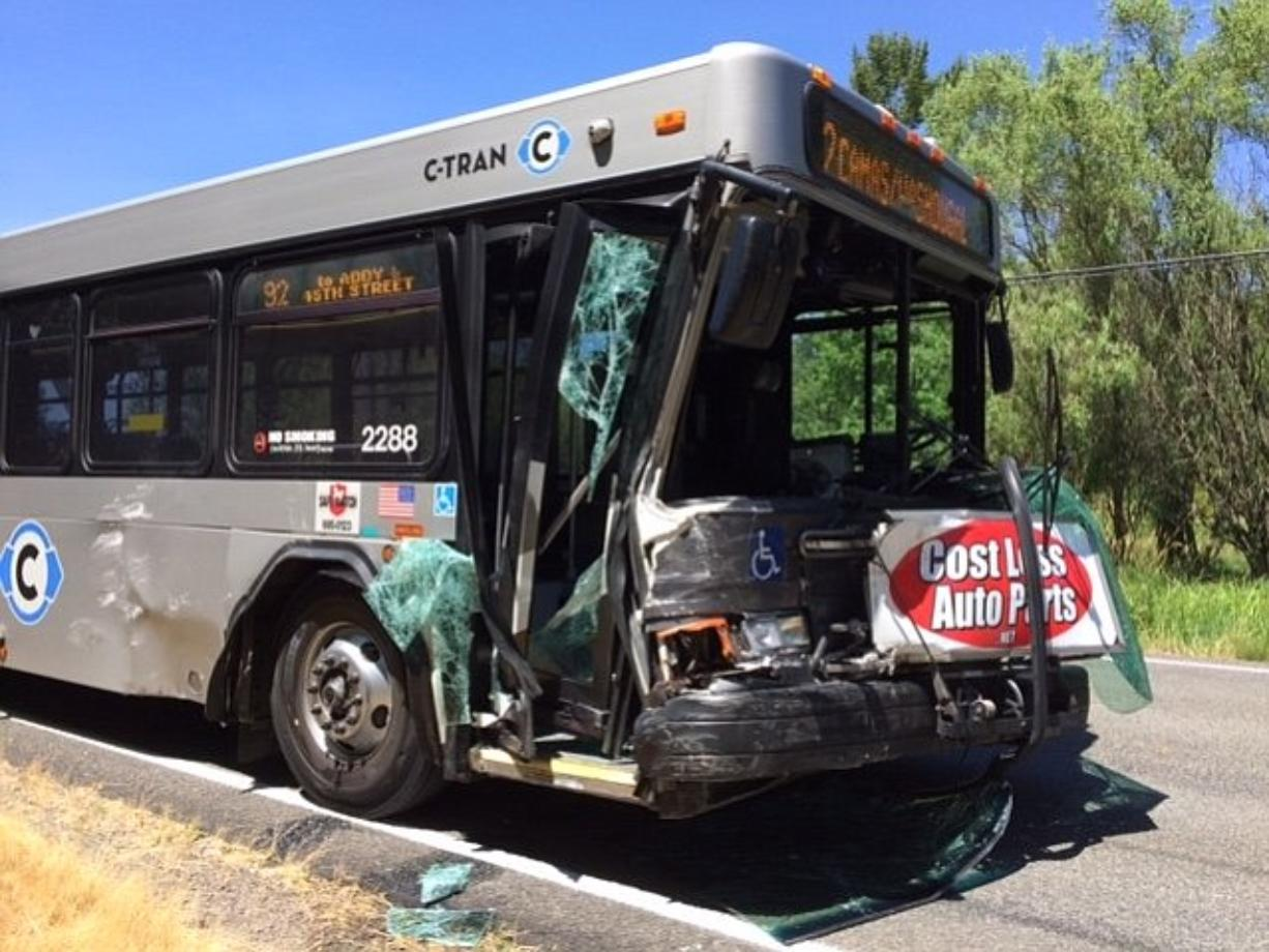 Six people were sent to the hospital after the sheriff's office said a minivan made a U-turn in front of a C-Tran bus near Washougal.