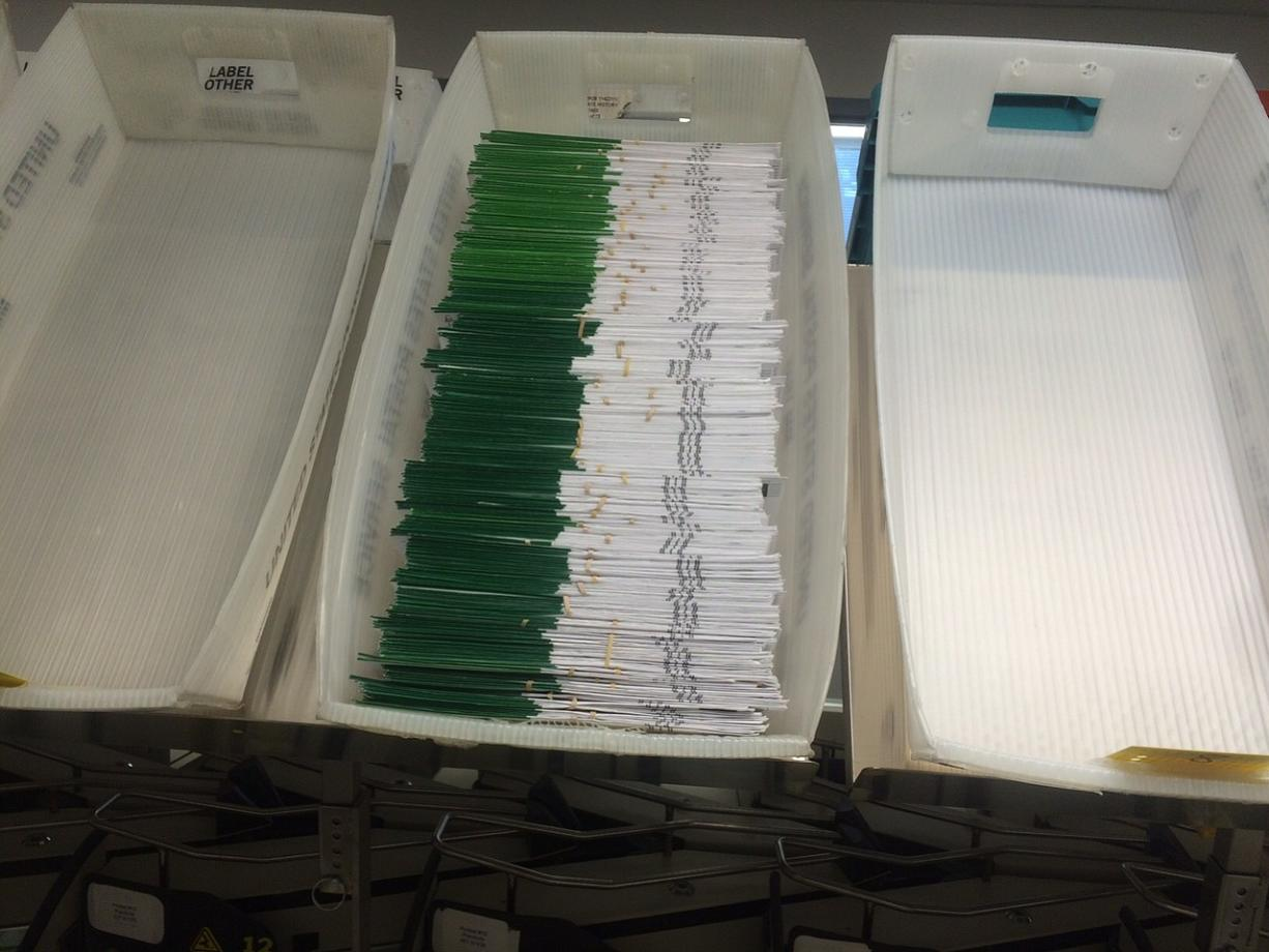 A tray full of ballots received by Clark County elections officials on Friday morning.