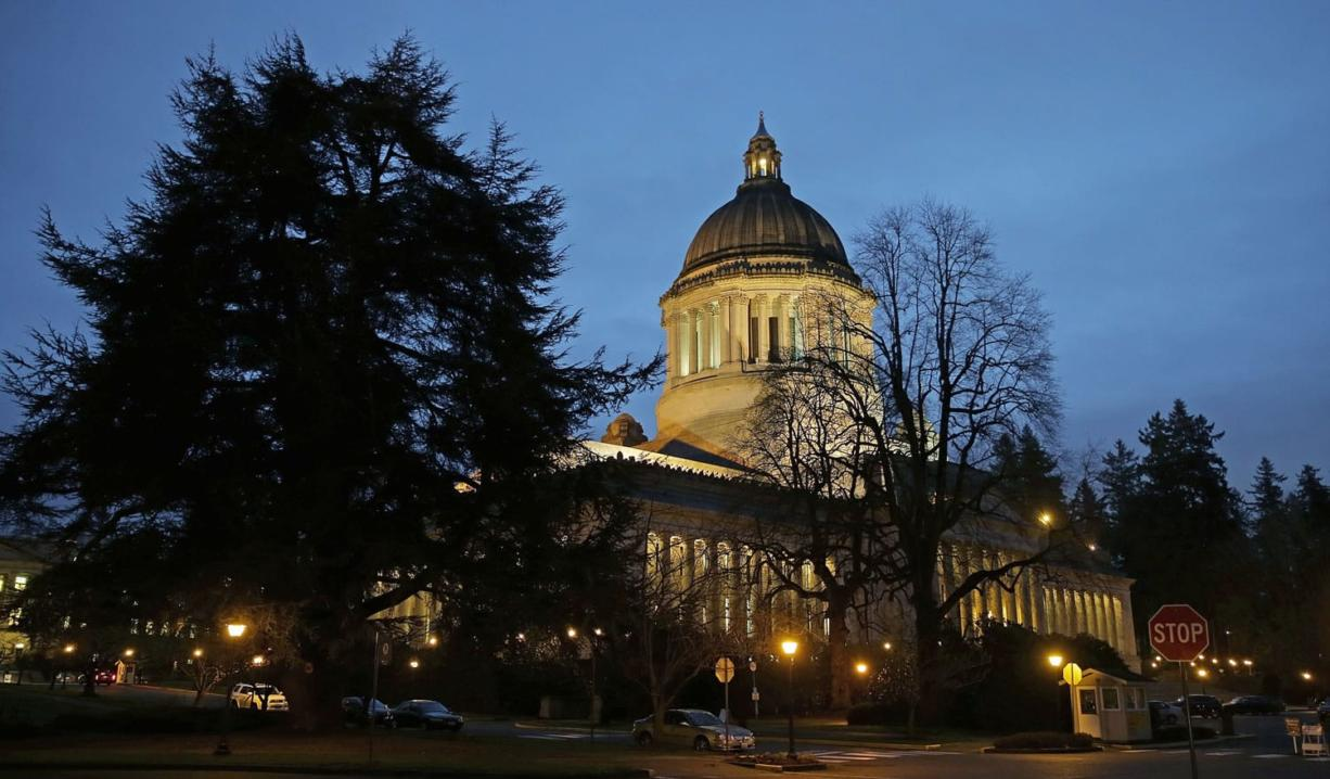 The Legislative building at the Washington state Capitol is shown at dusk Jan. 8 in Olympia.
