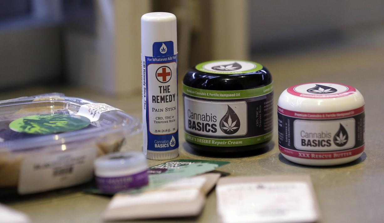 A variety of medical marijuana products sit on a counter at a dispensary Jan.