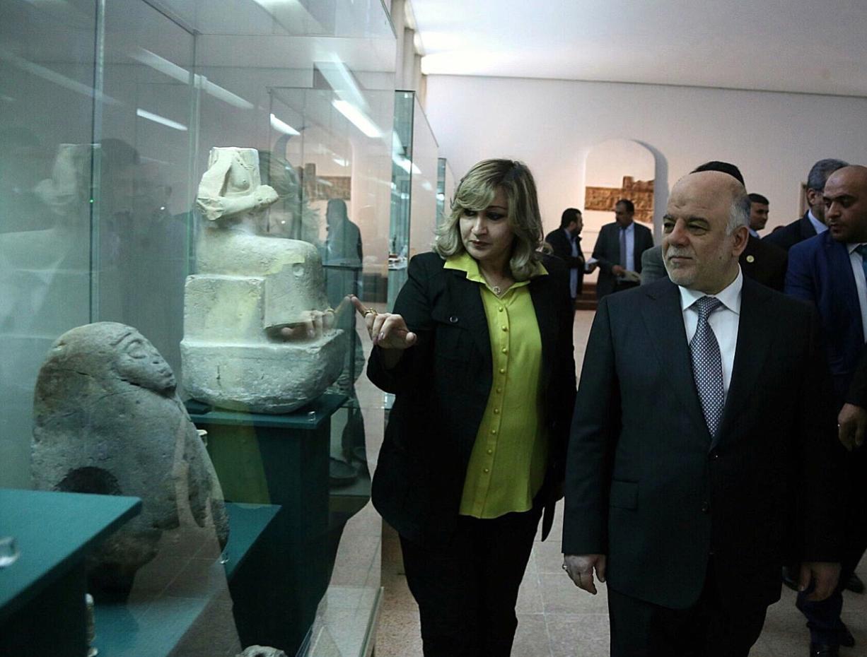 Iraqi Prime Minister Haider al-Abadi visits the Iraqi National Museum in Baghdad on Saturday.