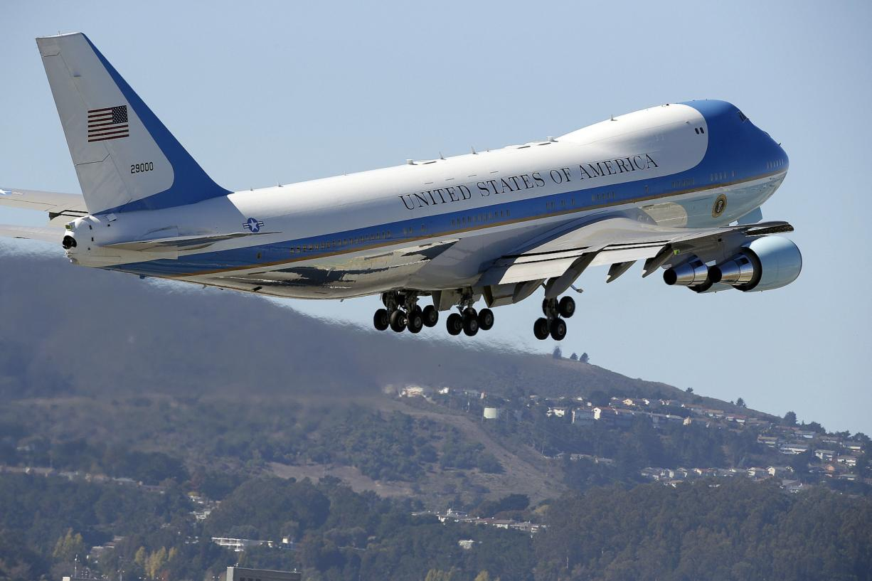 Air Force One takes off with President Barack Obama from San Francisco International Airport on Saturday in San Francisco. Obama attend two fundraising events in San Francisco.