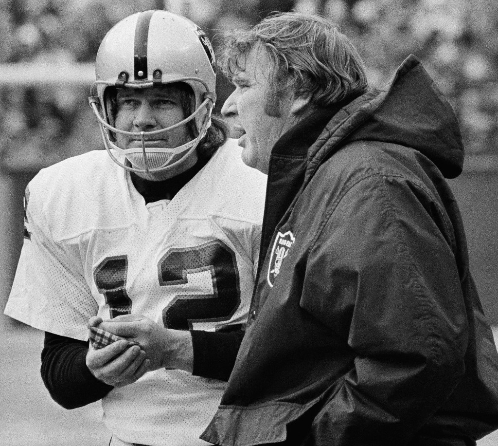 56137e5fb Oakland Raiders quarterback Ken Stabler, left, who led the Raiders to a  Super Bowl