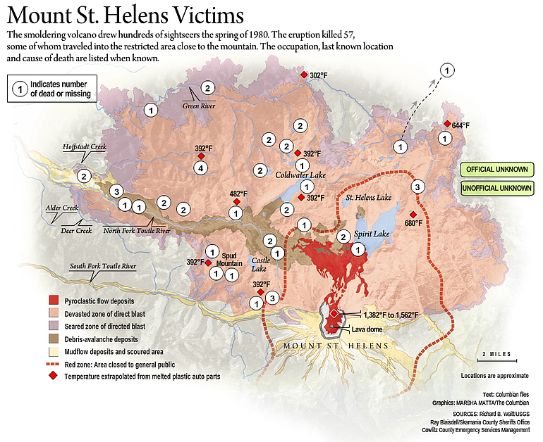 Mount St Helens Map Interactive map of Mount St. Helens eruption victims | The Columbian Mount St Helens Map