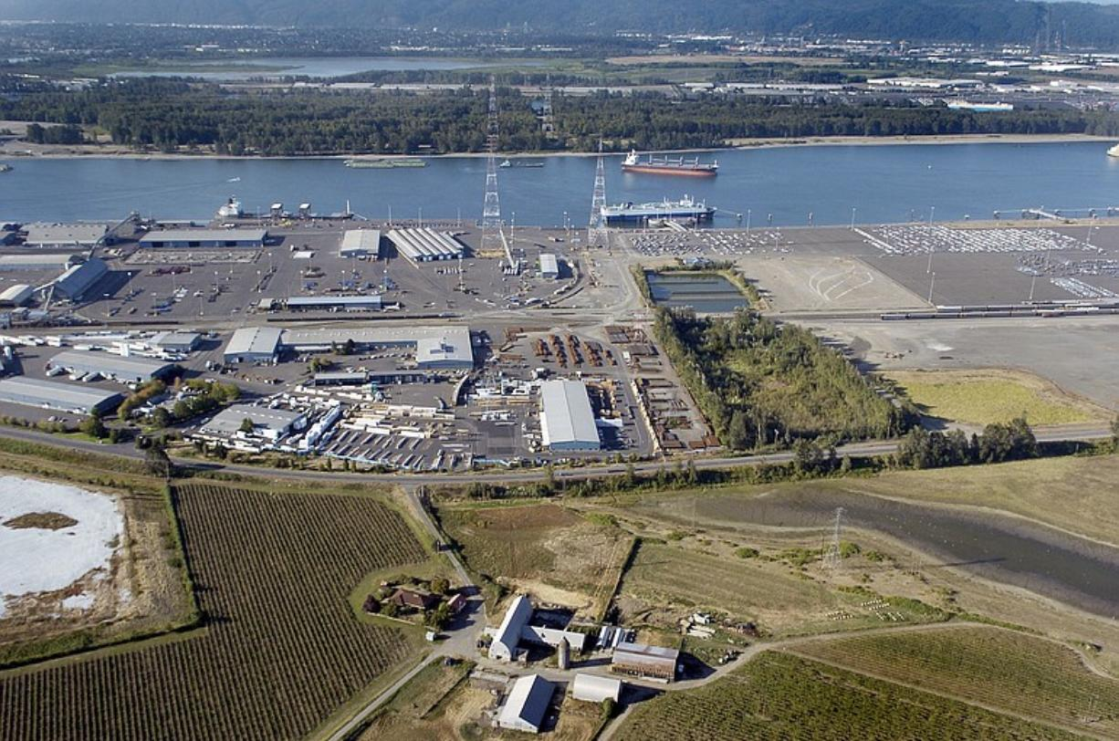 An aerial view of the Port of Vancouver, taken in September 2005.