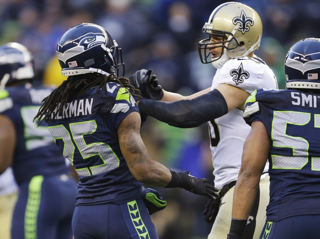 5ed35f53dca New Orleans tight end Jimmy Graham gets in a scuffle with Seattle's Richard  Sherman (25