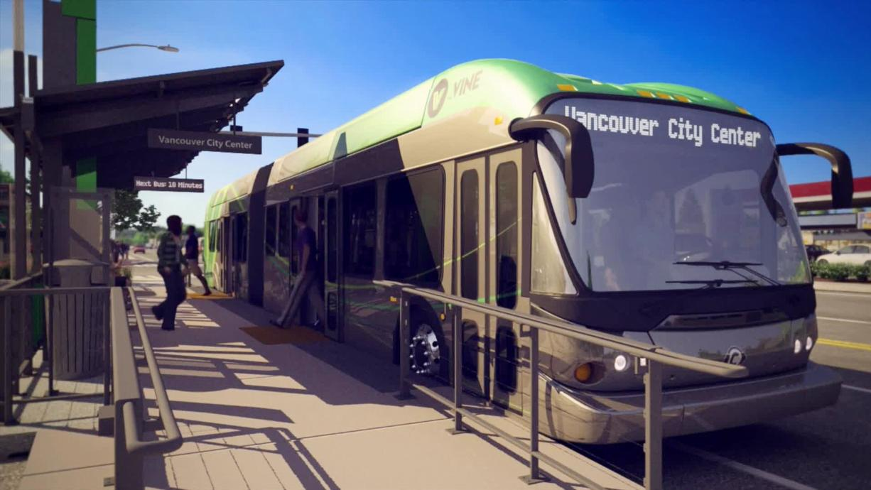 A conceptual image of C-Tran's planned bus rapid transit system in Vancouver.