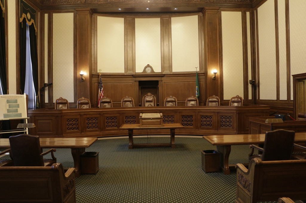 The chambers of the Washington state Supreme Court sit empty in Olympia.