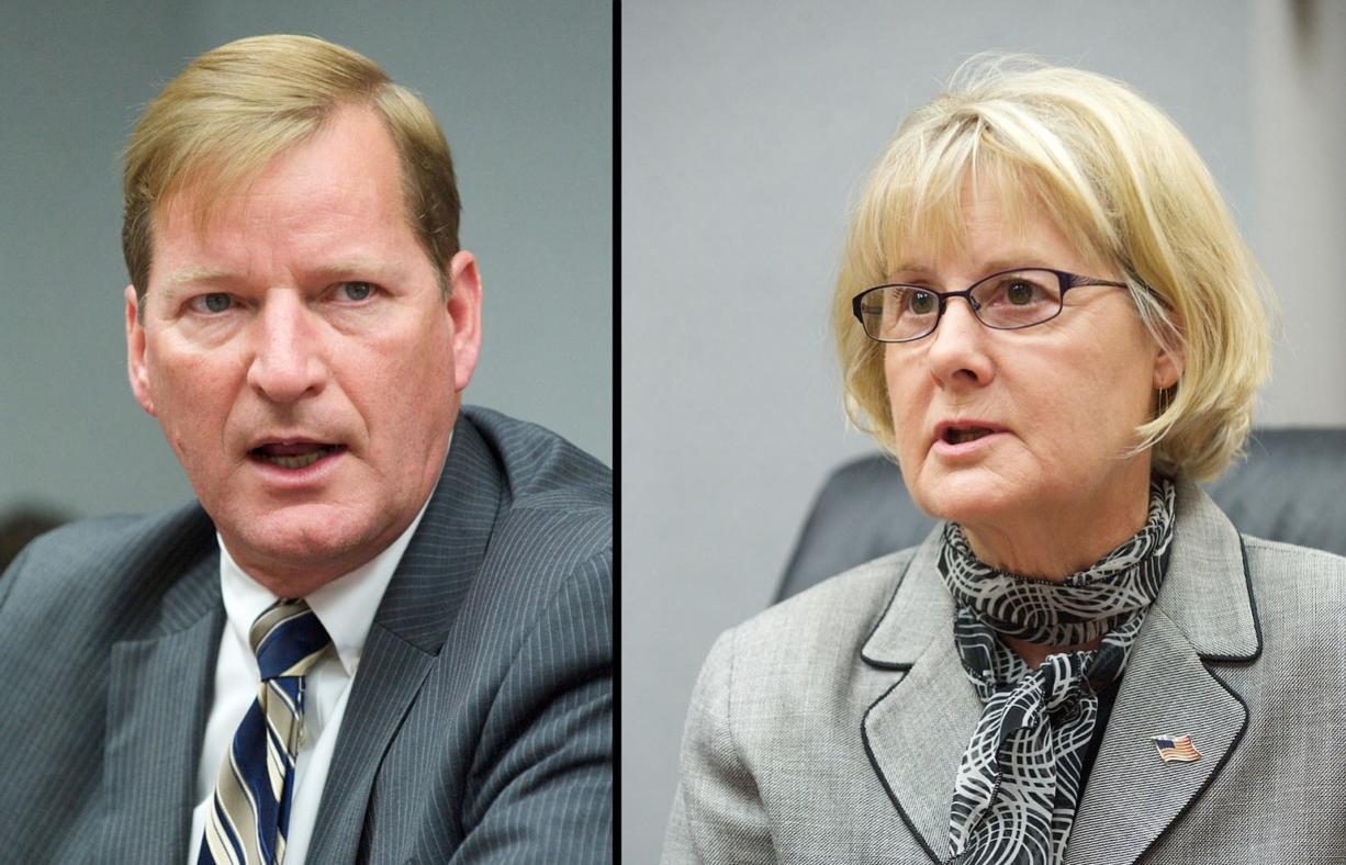 Clark County commissioner candidates Craig Pridemore, left, and Jeanne Stewart.