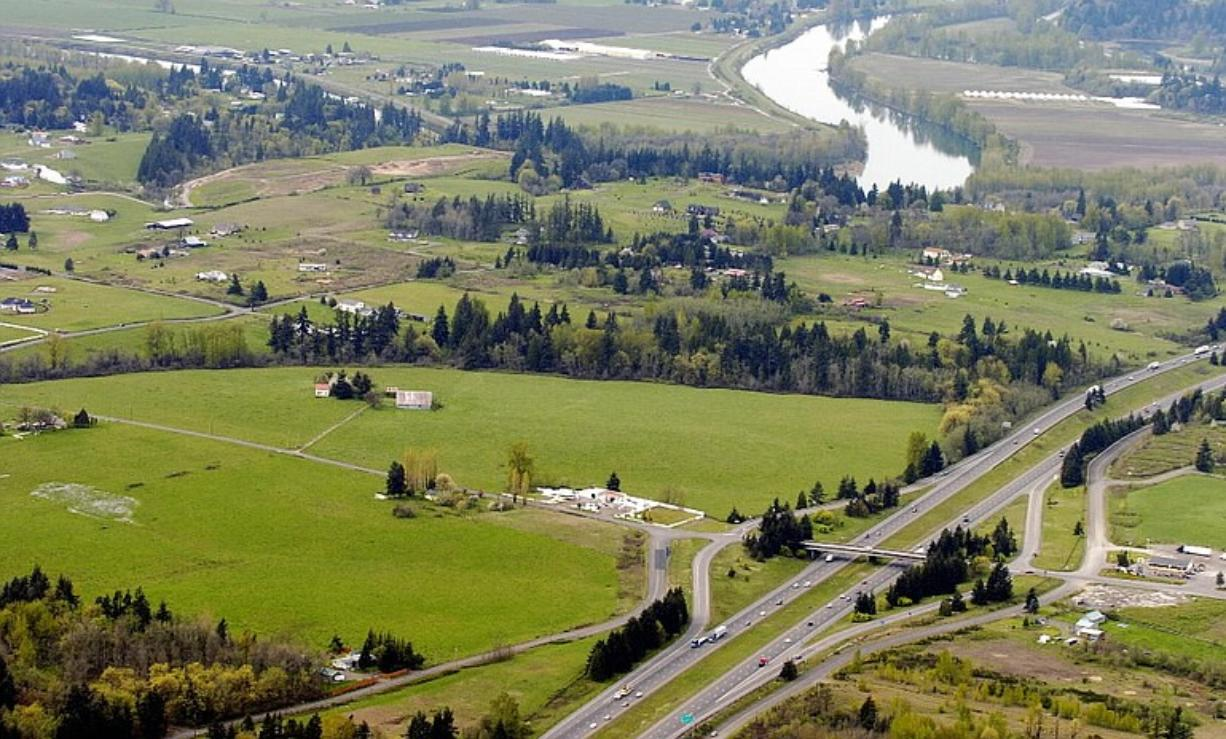 An aerial view includes the proposed site of a Cowlitz casino in Clark County.