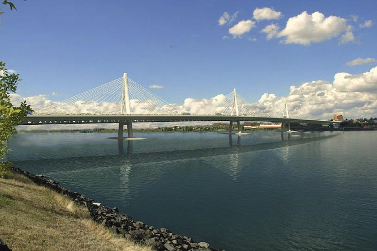 Proposed cable-stayed bridge design for new Interstate 5 Bridge.