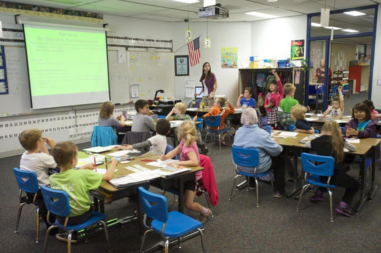 Cristy Shafer teaches second and third graders at Harthwood Elementary School on Oct.