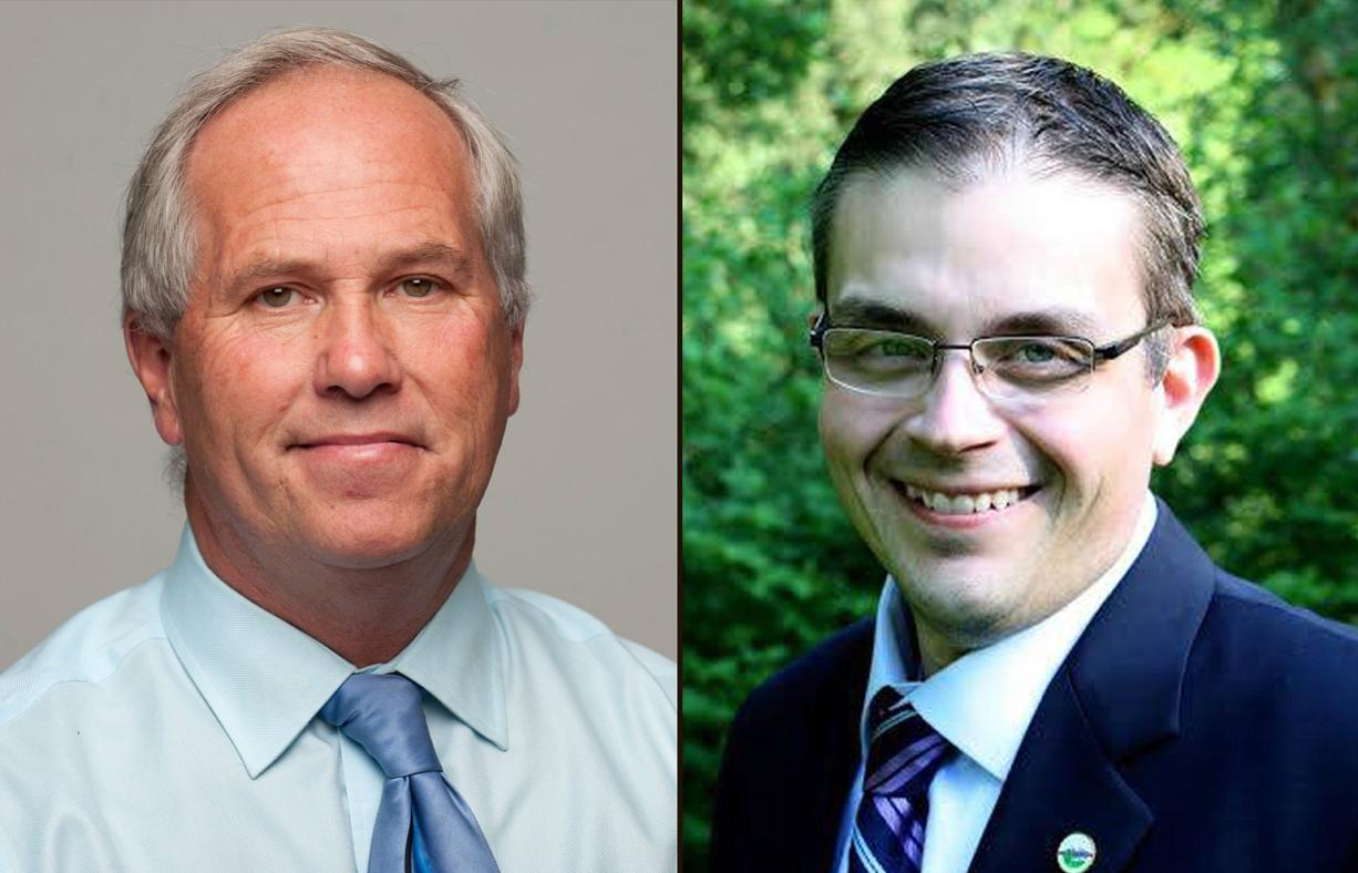 Marc Boldt, left, and Mike Dalesandro are in the lead for the Clark County council chair position after two days of ballot counting.