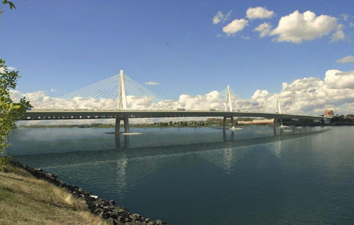 A cable-stayed bridge design, shown here, is one of three alternatives favored by a Columbia River Crossing review team.