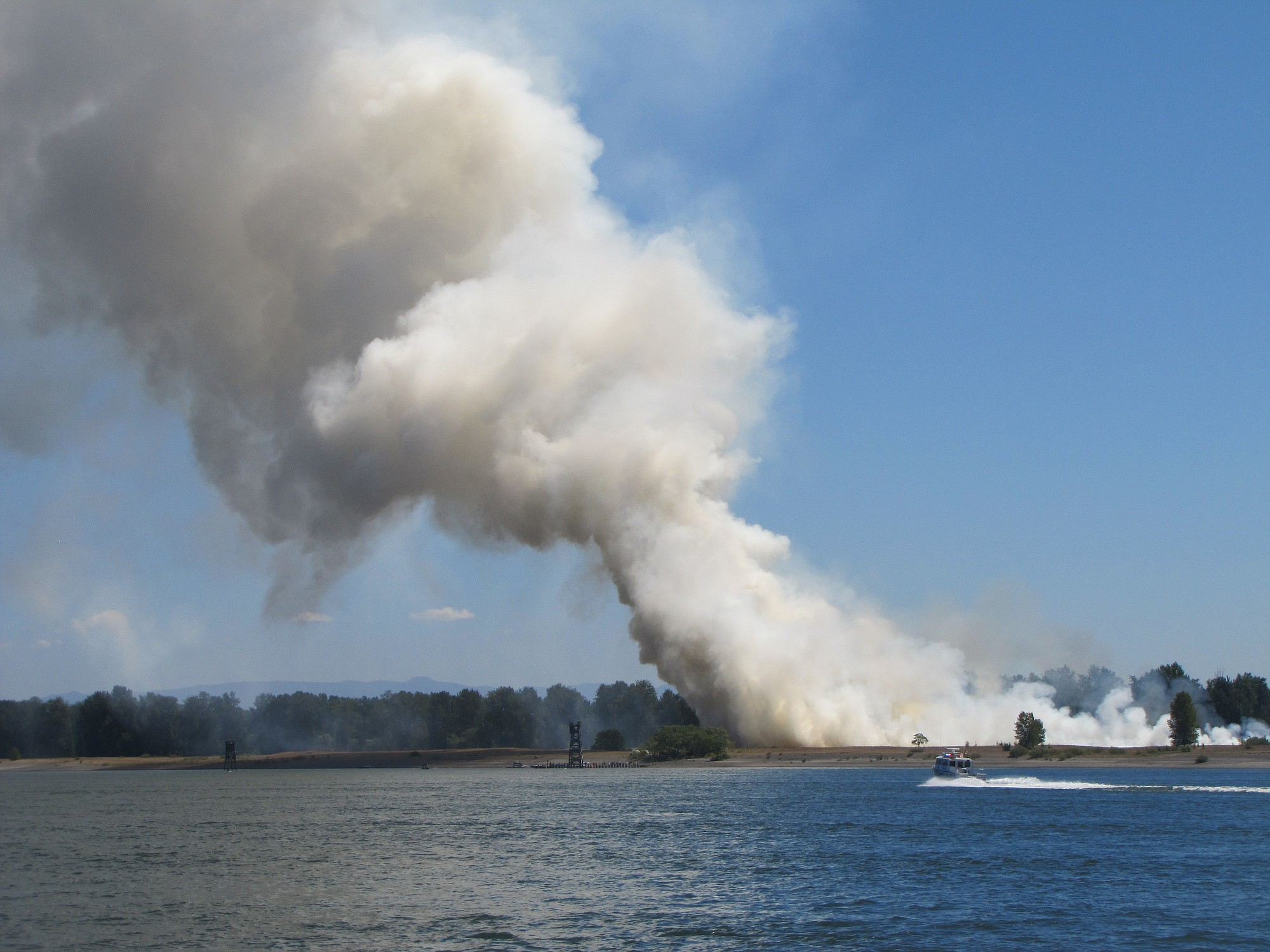 A fire on Government Island today has forced campers to flee.