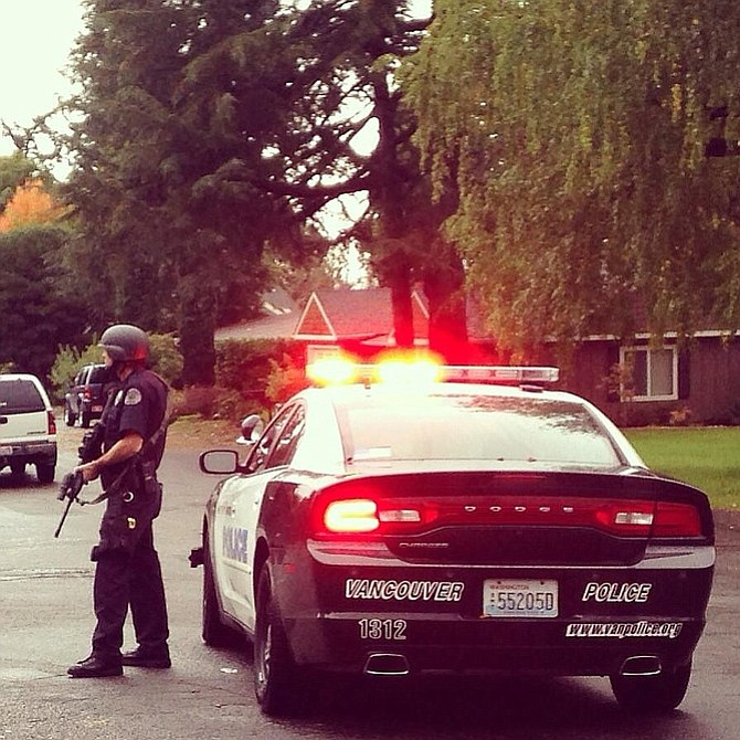 Police seal off the area near Blandford Canyon as a manhunt ensues for a shooting suspect on Oct. 31.