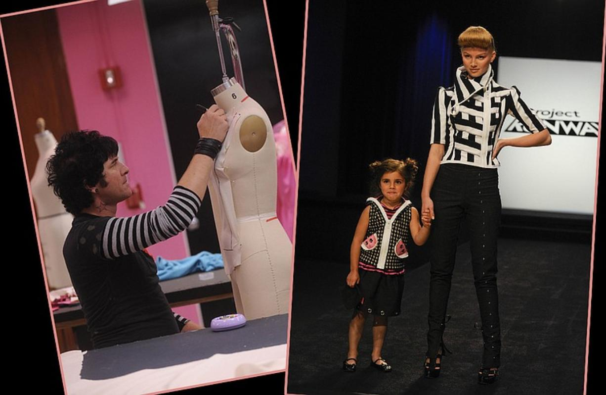 """Vancouver designer SethAaron Henderson, left, works on his garment for the kids challenge, at right, on Thursday's episode of """"Project Runway."""""""