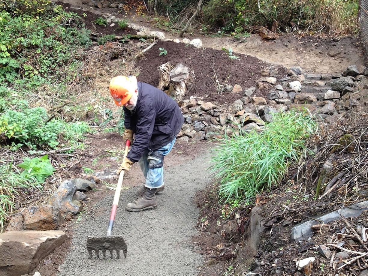 Longtime volunteer Ted Klump puts the finishing touches on the River to Rock Trail, a new connector path that links the day-use area to the trail to the top of Beacon Rock State Park.