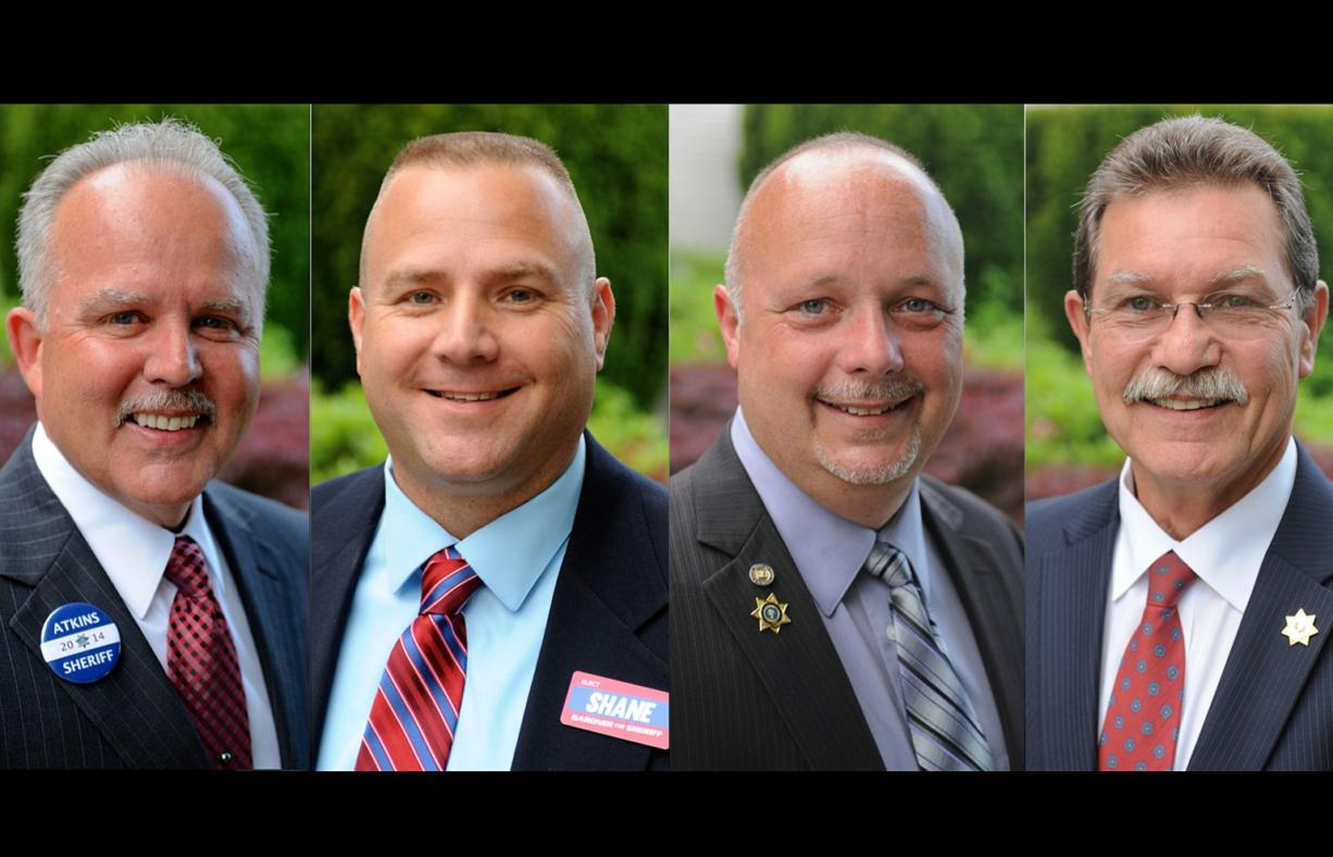 Candidates for Clark County sheriff, from left, Chuck Atkins, Shane Gardner, Ed Owens and John Graser
