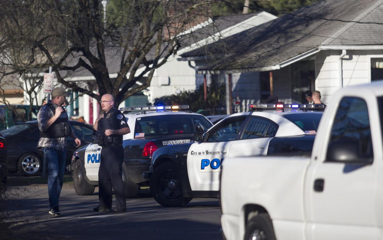 Vancouver police converged on the Fourth Plain Village neighborhood Friday after a shooting near the intersection of East Fourth Plan Boulevard and Neals Lane.
