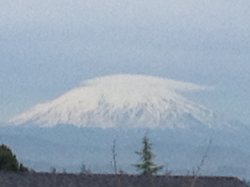 I caught Mt. Saint Helens with her top back on this afternoon.  (Near Mt. Vista, Monday)