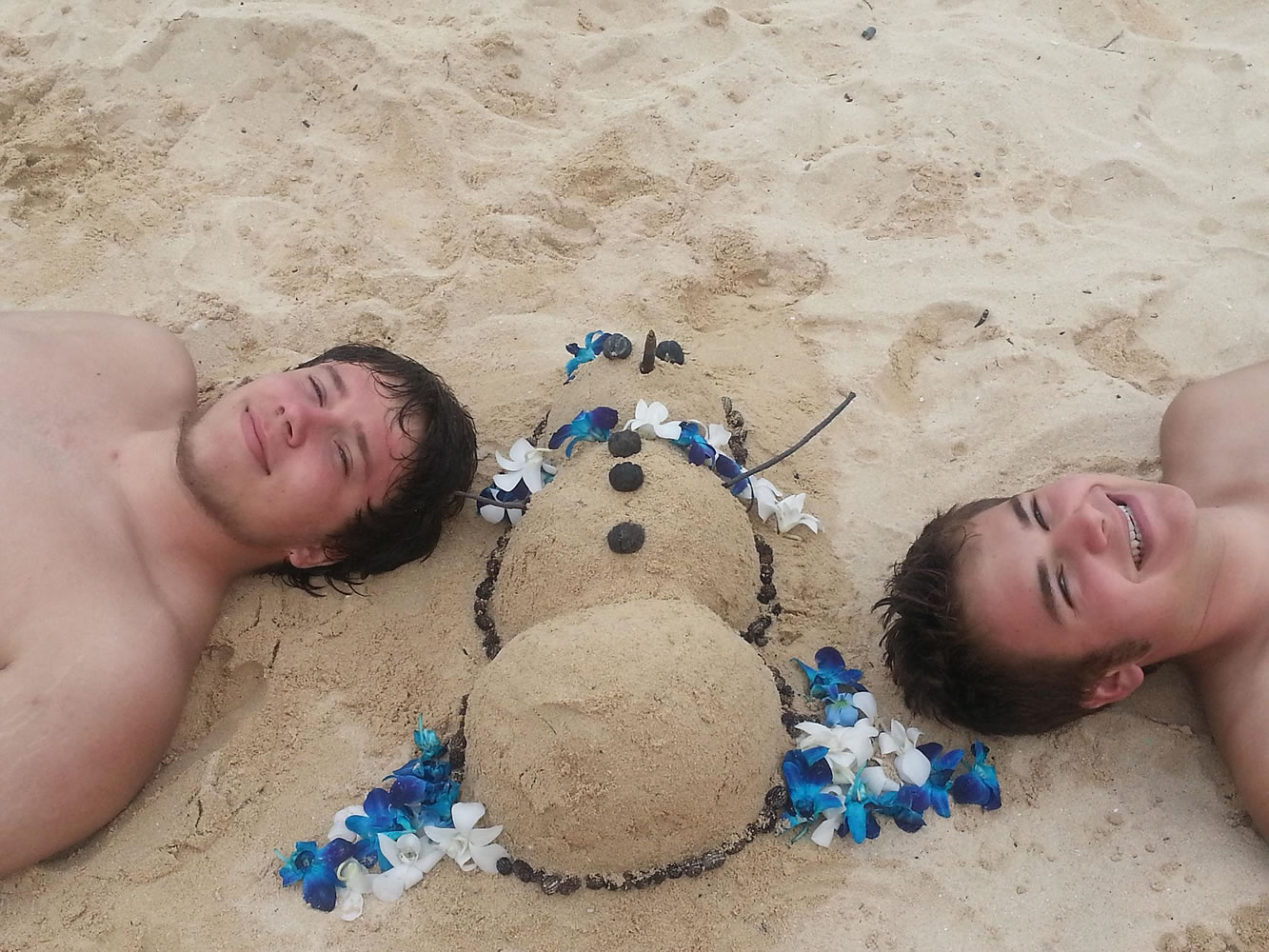Snowmen: two Vancouverites, Keegan and Lukas Ashby; one Hawaiian (guess who is Hawaiian!!??)