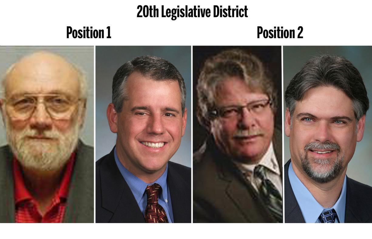 20th Legislative District, Position 1: Michael Savoca, left, and Rep. Richard DeBolt. Position 2: John Morgan, left, and Rep. Ed Orcutt.