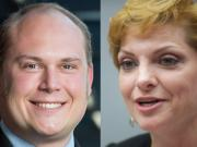 Eric LaBrant, left, and Lisa Ross are leading in first returns for the Port of Vancouver commissioner seat.