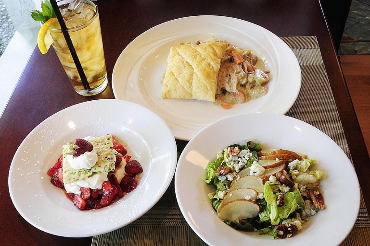 Chicken & Mushroom Pot Pie, pear and blue cheese salad and strawberry shortcake from Oliver's restaurant in Camas.