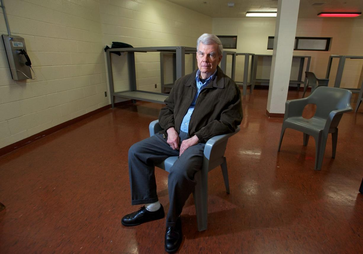 Mental health advocate Don Greenwood poses for a portrait at the Clark County Jail in December.