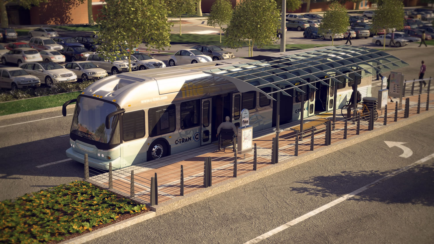 Courtesy of C-Tran C-Tran has proposed building a bus rapid transit line in Vancouver stretching from downtown to the Westfield Vancouver mall along the city's Fourth Plain corridor. The system would also serve Clark College, as shown here in an artist rendering. If built, the line could open as soon as 2016. But some elements, including boarding station designs, remain undecided.