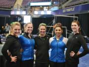 Clark County gymnasts who competed Saturday at the NCAA Seattle Regional, from left: Dallas Smith of Heisson (Sacramento State), KayCee Gassaway of Vancouver (Brigham Young), Kayla Wonderly of La Center (Sacramento State), Diana Mejia of Vancouver (Boise State) and Kalliah McCartney of Vancouver (Sacramento State).