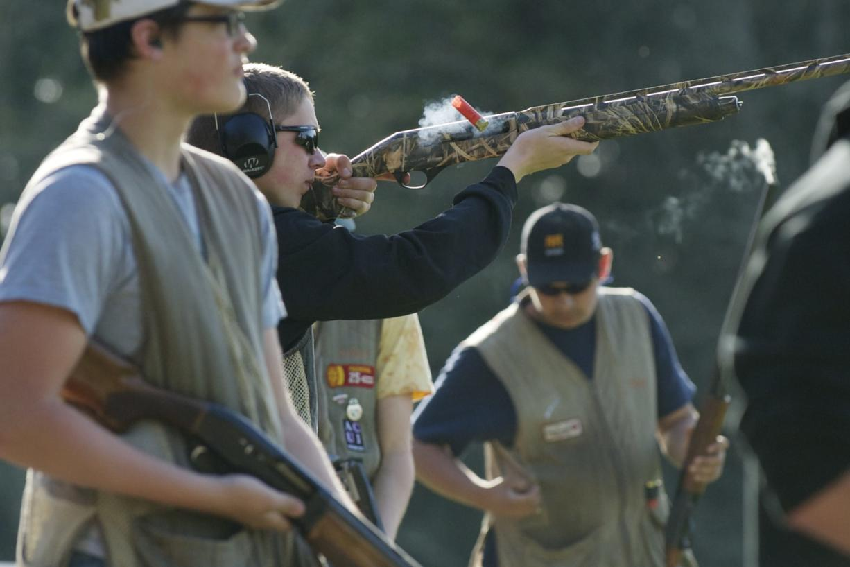 Woodland High School is the only local high school with a trap-shooting club. They practice at Rainier Rod and Gun Cub in Rainier, Oregon, Thursday, April 10, 2014. (Steven Lane/The Columbian)
