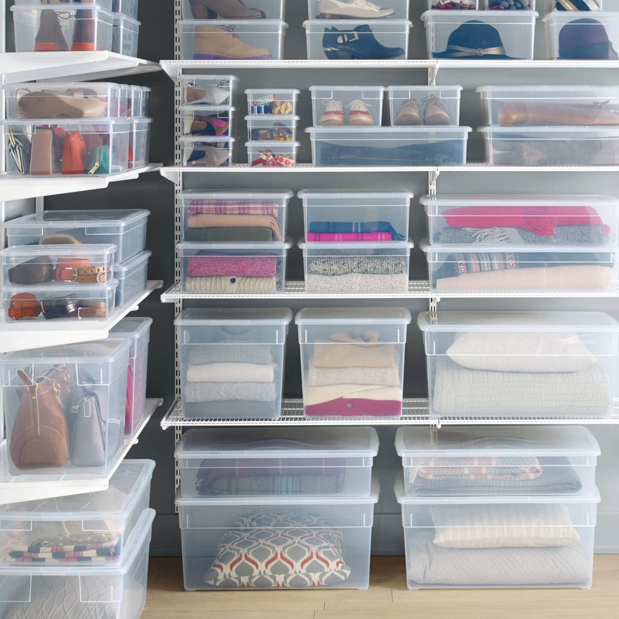 The Container Store Clear storage bins can help cut down clutter and help you see what's where.