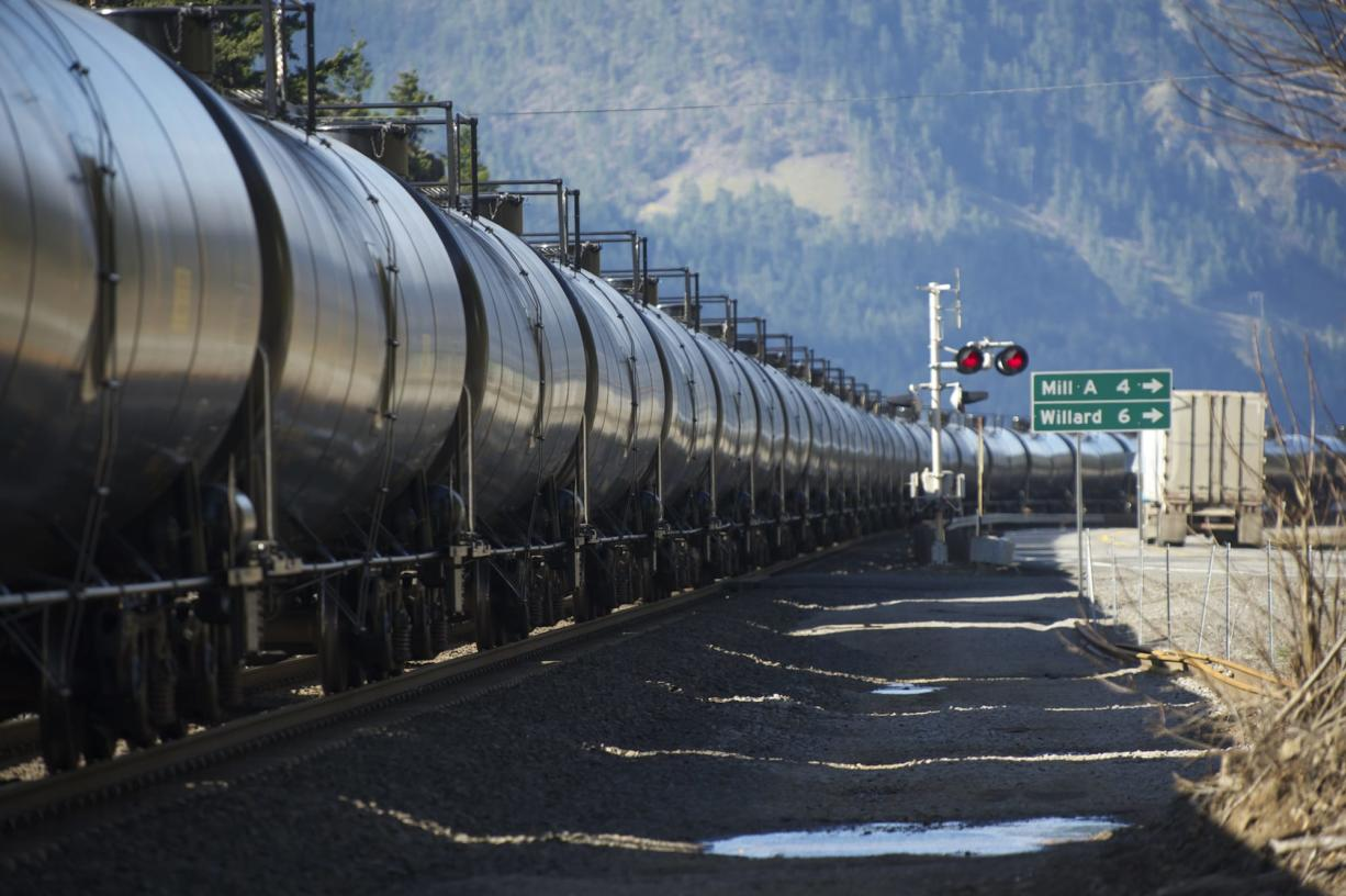 A train hauling oil passes through the Columbia River Gorge on its way to Vancouver in March.