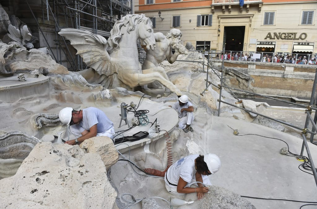 6972d93525d4 A crew works in August on the restoration of Rome s Trevi Fountain