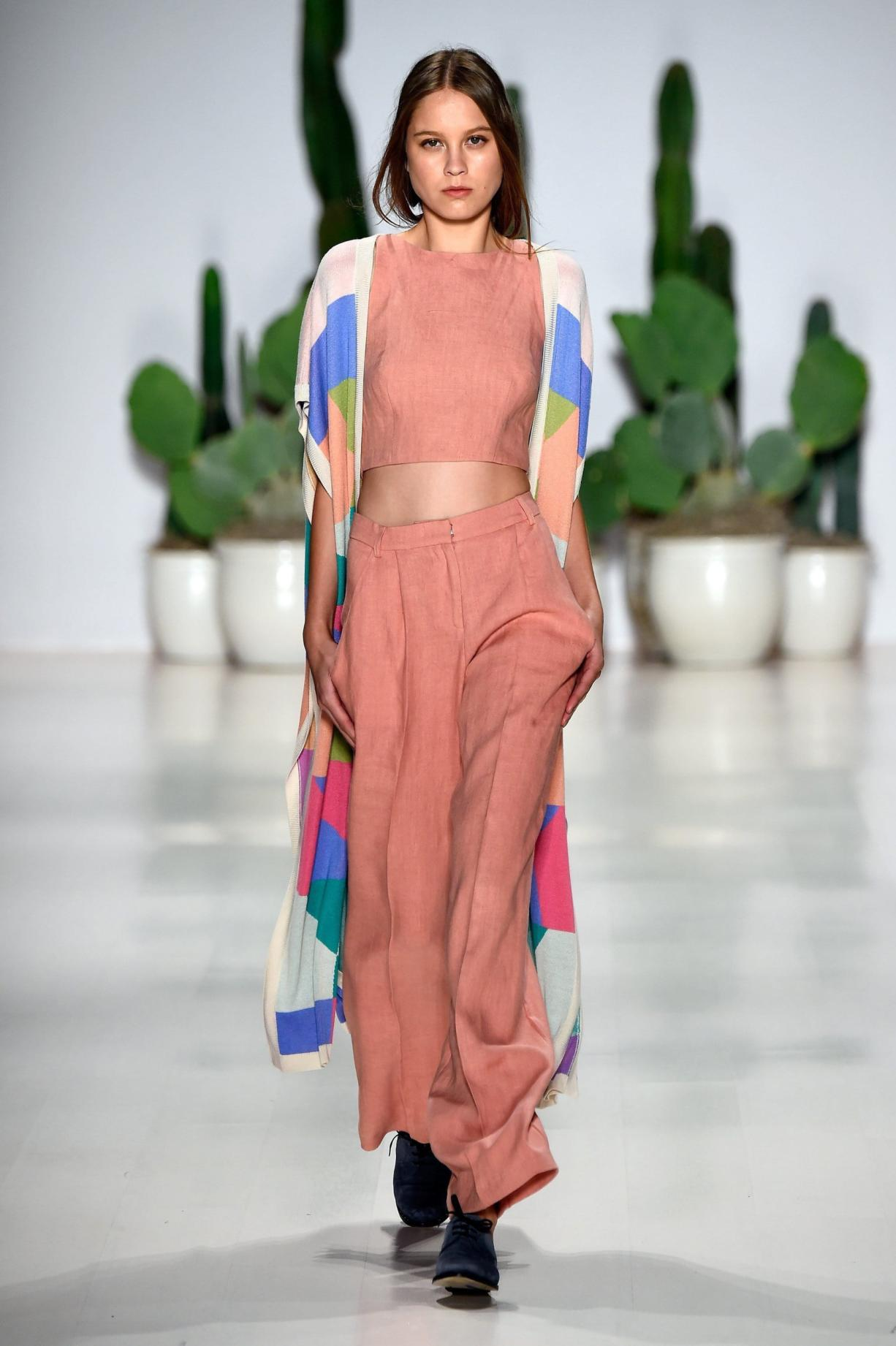 Models wearing pastels walk the runway at the Mara Hoffman fashion show Saturday during Mercedes-Benz Fashion Week Spring 2015 at The Salon at Lincoln Center in New York City.