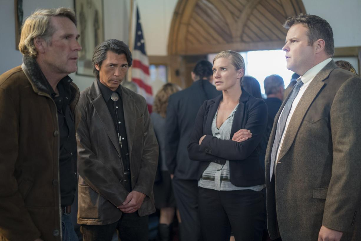 """Robert Taylor, from left, Lou Diamond Phillips, Katee Sackhoff and Adam Bartley in """"Longmire."""""""