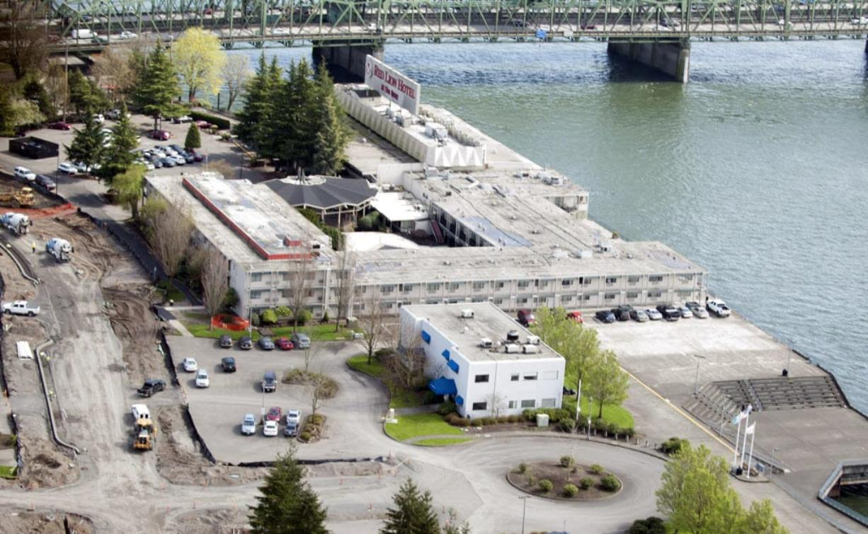 Aerial of the former Red Lion Hotel Vancouver at the Quay in Vancouver in March.