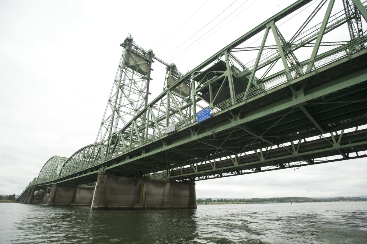 The Interstate 5 Bridge across the Columbia River, seen Wednesday looking southwest from Vancouver, includes two spans. The northbound span was built in 1917, and the southbound span was added in 1958. A portion of the bridge can be raised to 178 feet to accommodate river traffic, but those bridge lifts halt road traffic.