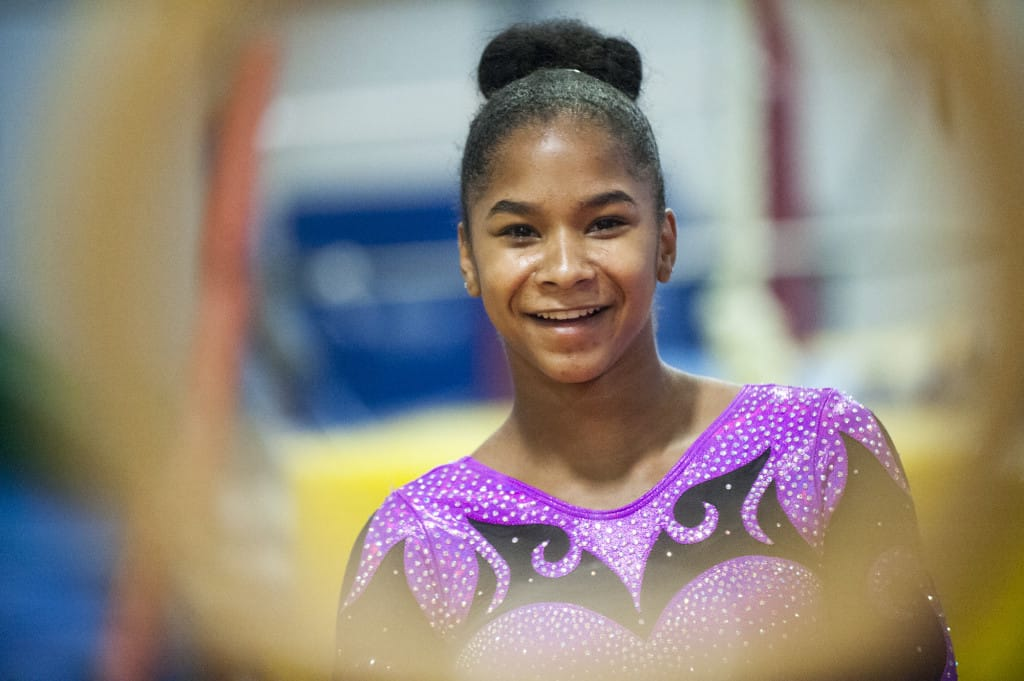 Gymnast Jordan Chiles trains at Naydenov Gymnastics in Vancouver Tuesday August 25, 2015.