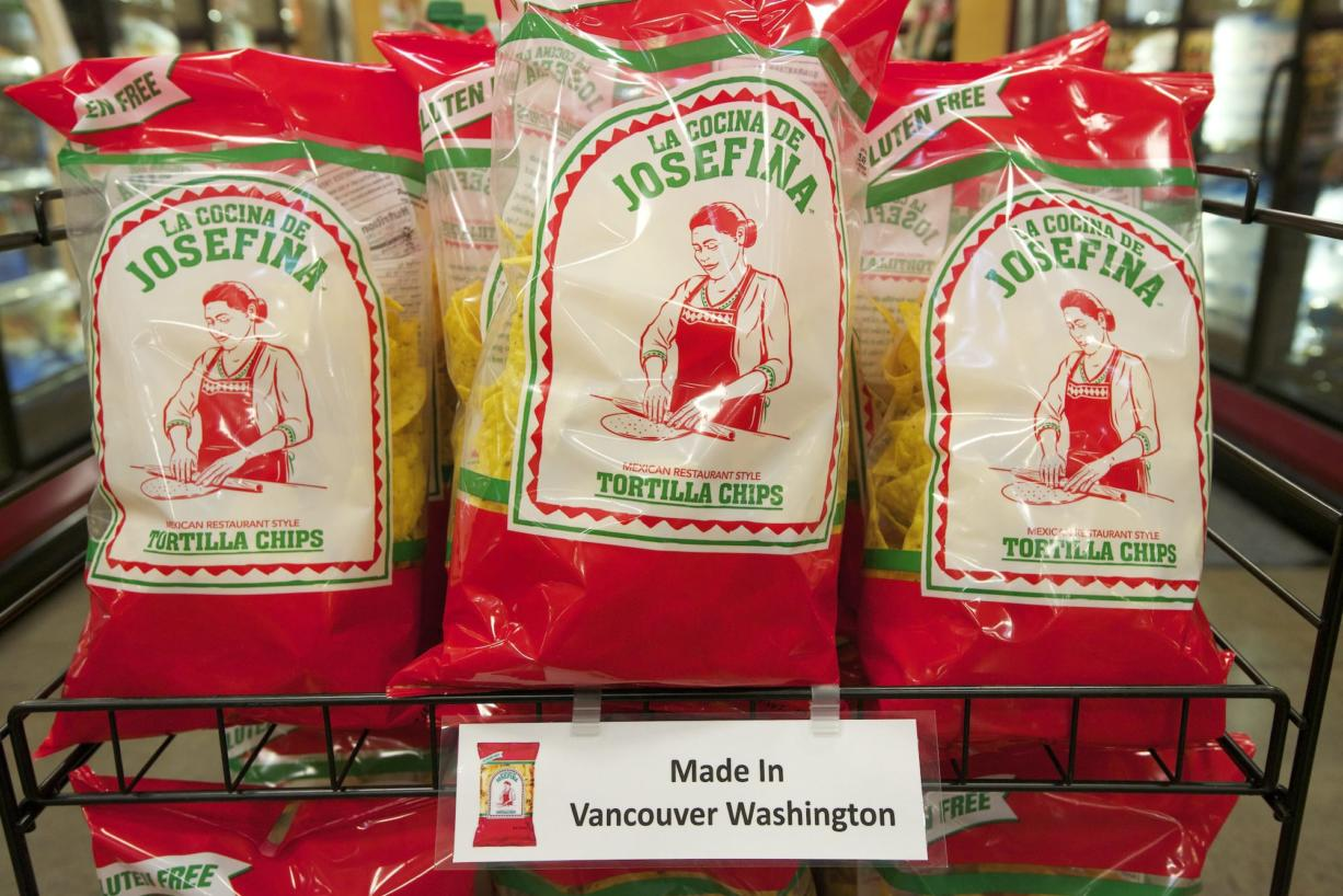 Frito Lay has introduced Josefina chips, on display here at Fred Meyer's Salmon Creek store, for sale only in the Northwest. The chip package doesn't identify Josefinas as a Frito Lay product.