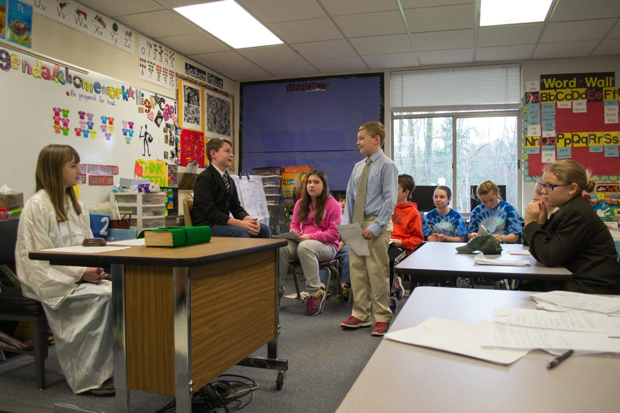 Ridgefield: Sixth-grader Nate Scullard-Bender, serves as prosecuting attorney in a mock trial, part of the Ridgefield School District's Highly Capable Program.