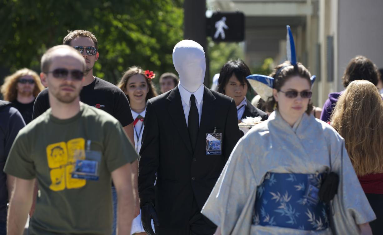 Jared Runyan, 23, from Portland, dressed as Slender Man, attends the Kumoricon 2012 celebration in Vancouver.