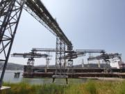 A grain ship loads at the EGT dock at the Port of Longview.
